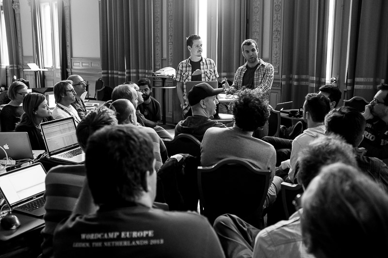 Mike Schroder and Andrew Nacin explain how to contribute to WordPress during contributer's day at WordCamp Europe 2013.