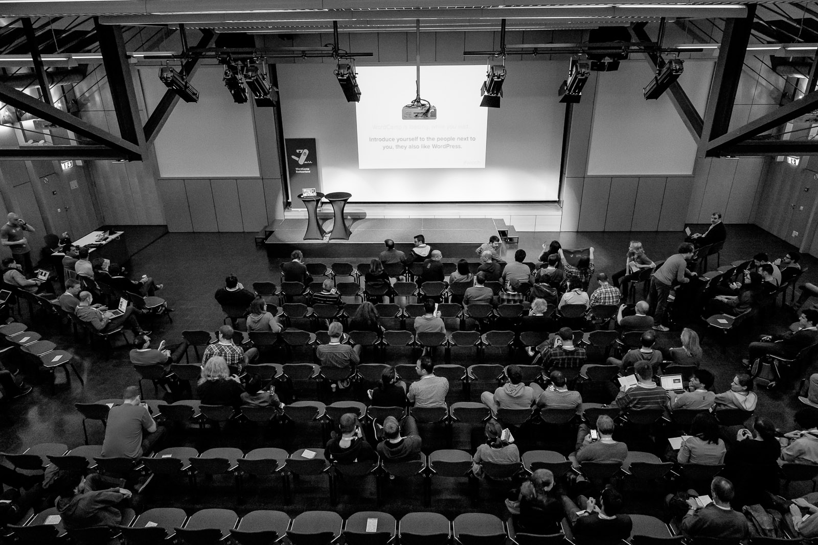 The auditorium from above at WordCamp Switzerland 2014