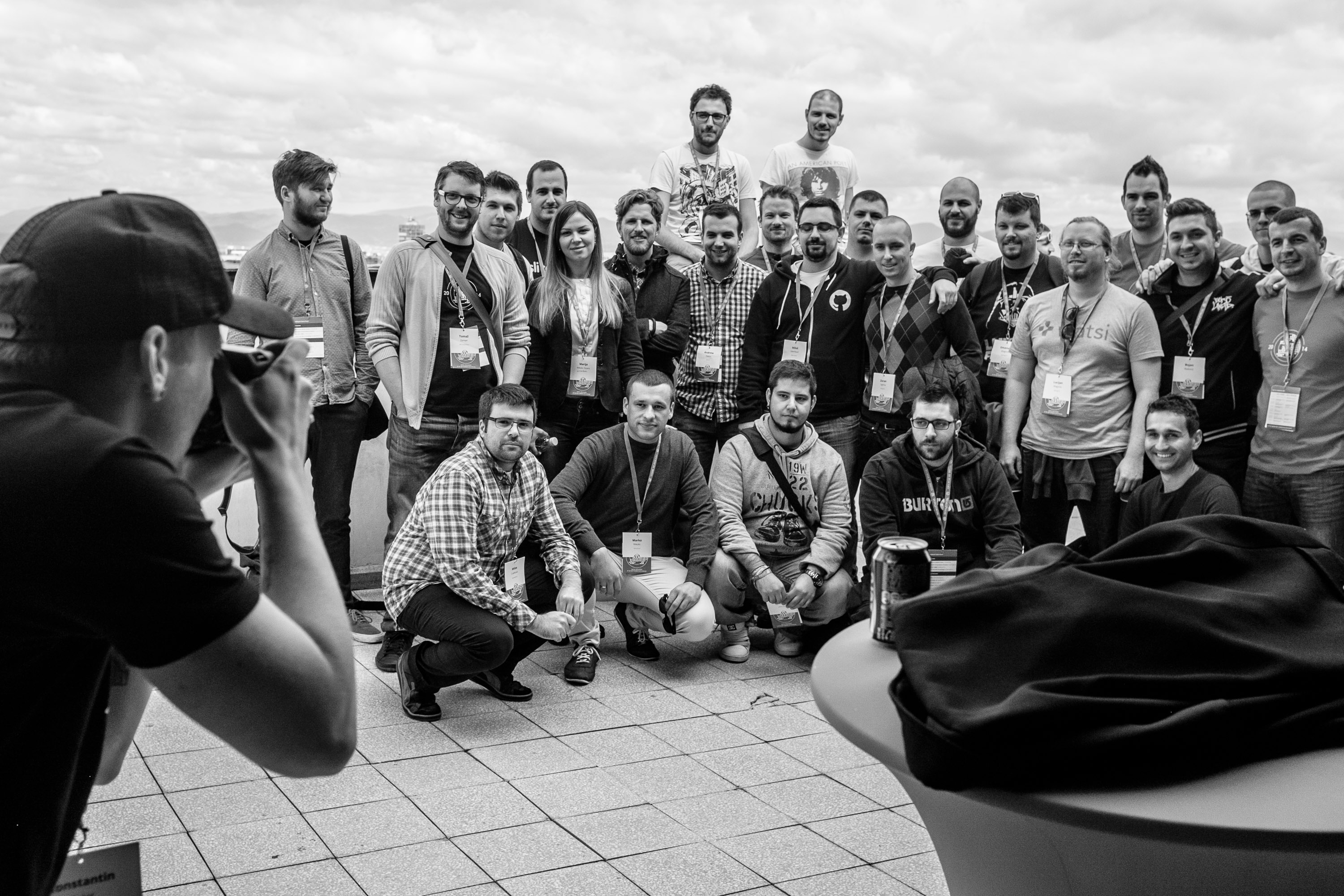 Group photo of the Croatian, Serbian and Slovenian WordPress communities with Matt Mullenweg and Andrew Nacin