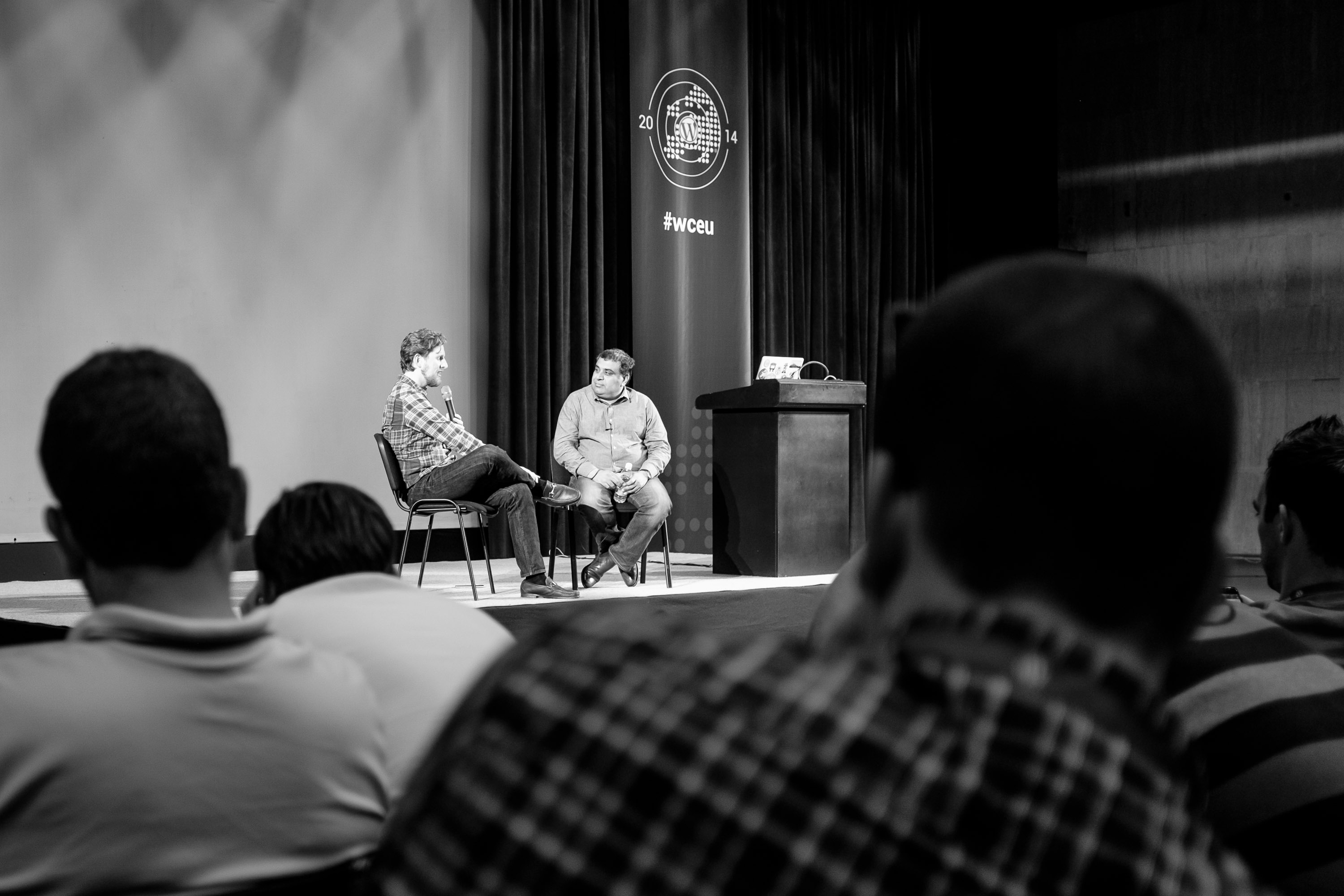 Matt Mullenweg and Om Malik during the Q&A session at WordCamp Europe 2014