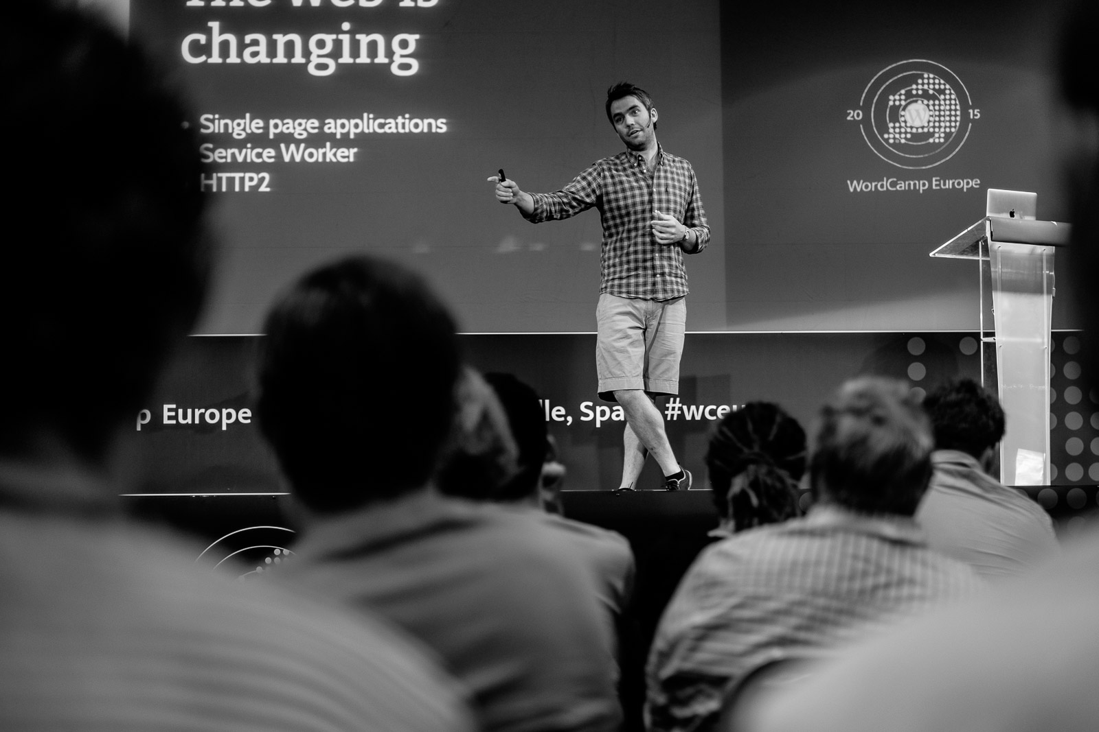 jack Lenox on stage at WCEU