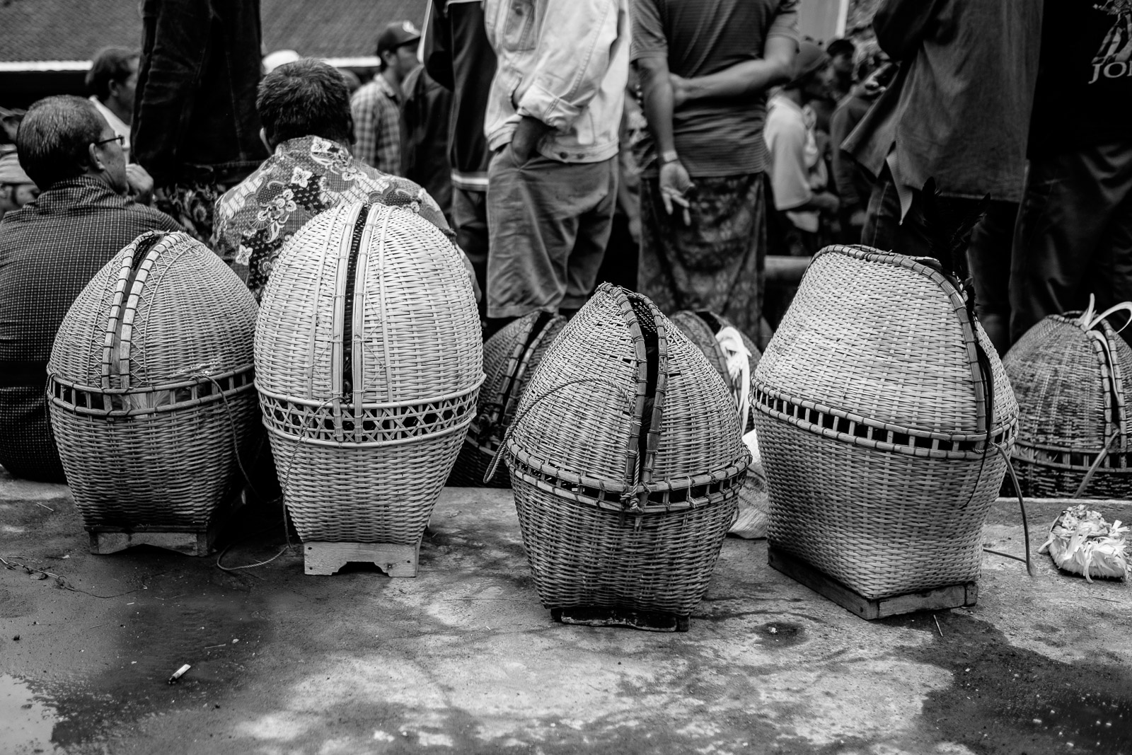 Small bamboo cages for transporting the roosters to the arena