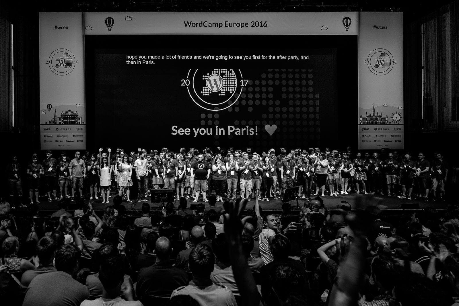 WordCamp Europe 2016 organizers and volunteers on stage