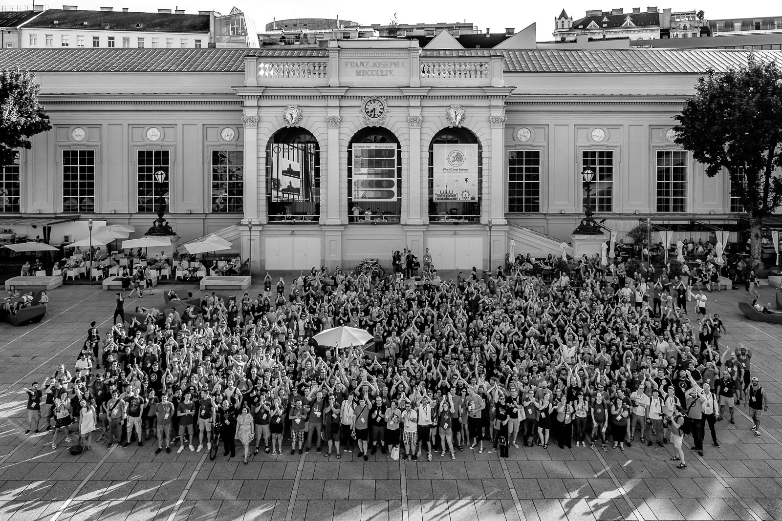 Group Photo of all attendees of WordCamp Europe 2016 in Vienna.