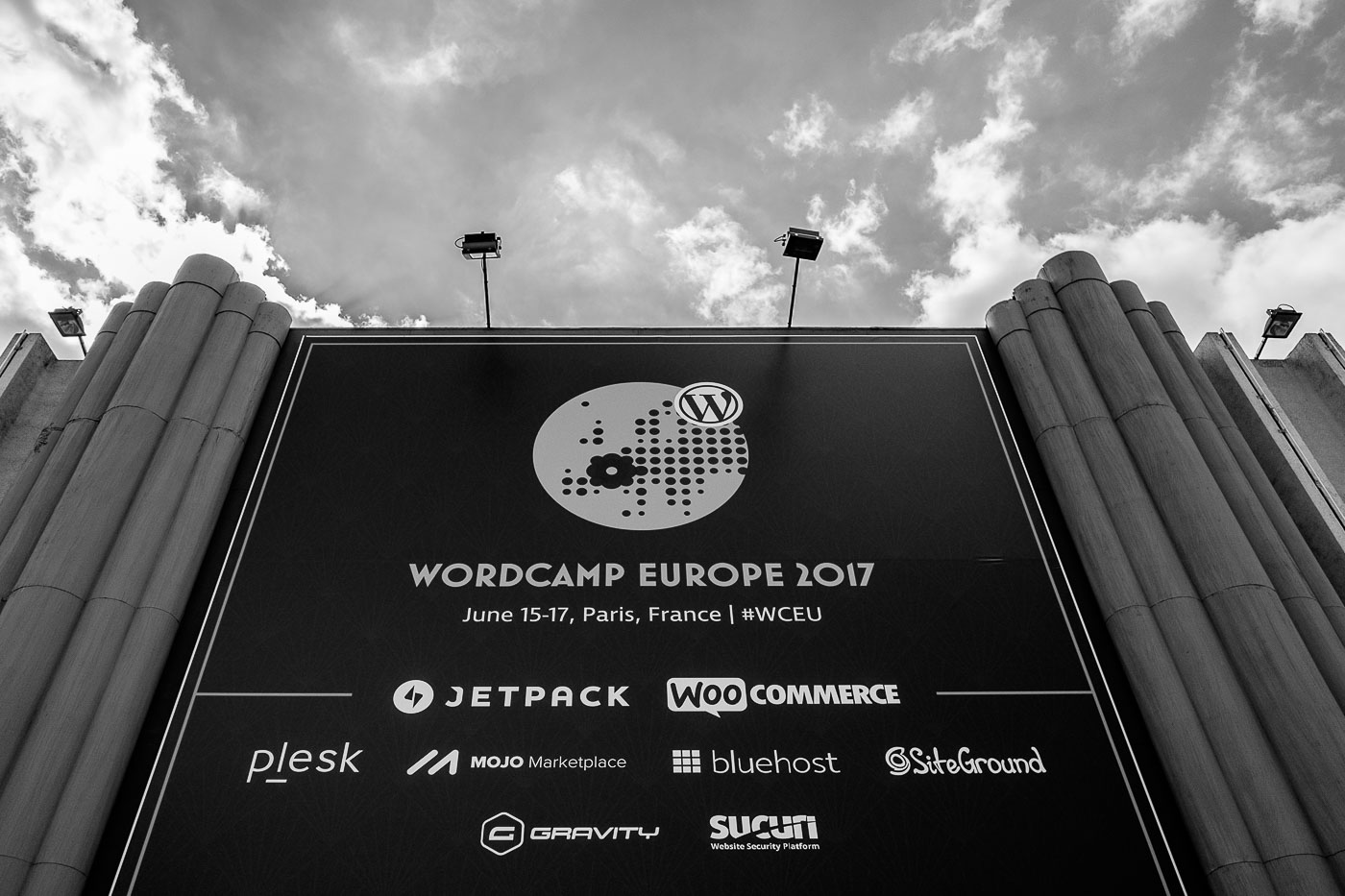 A huge billboard announcing WordCamp Europe 2017
