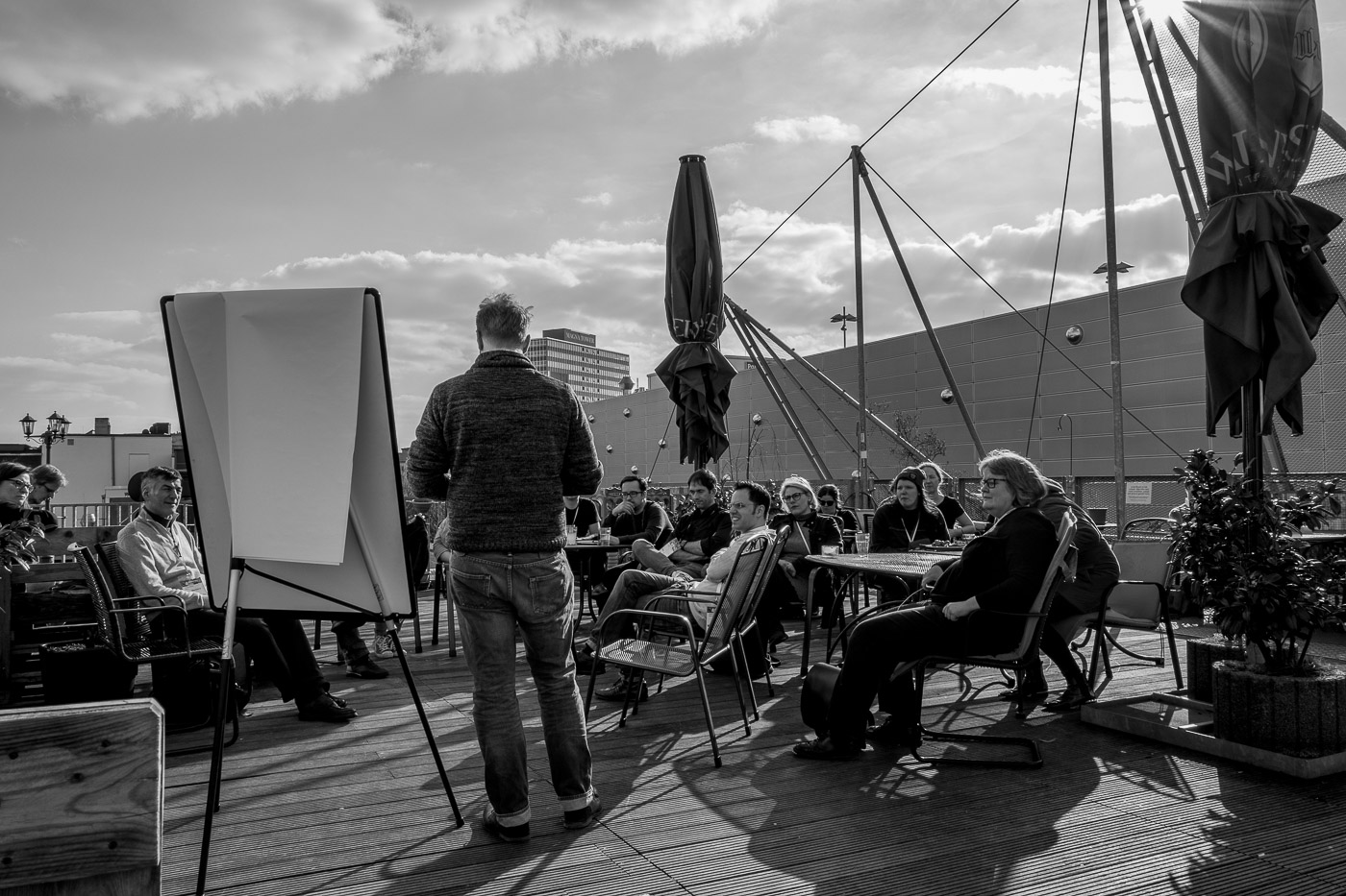 Attendees during the Berthold's session on the roof terrace