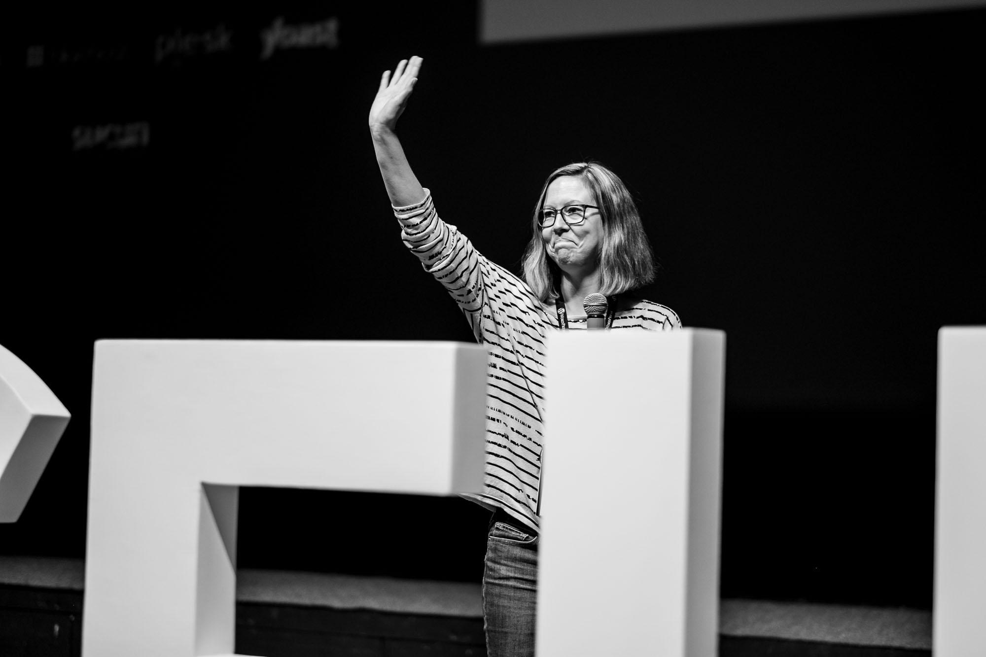 Jenny waving