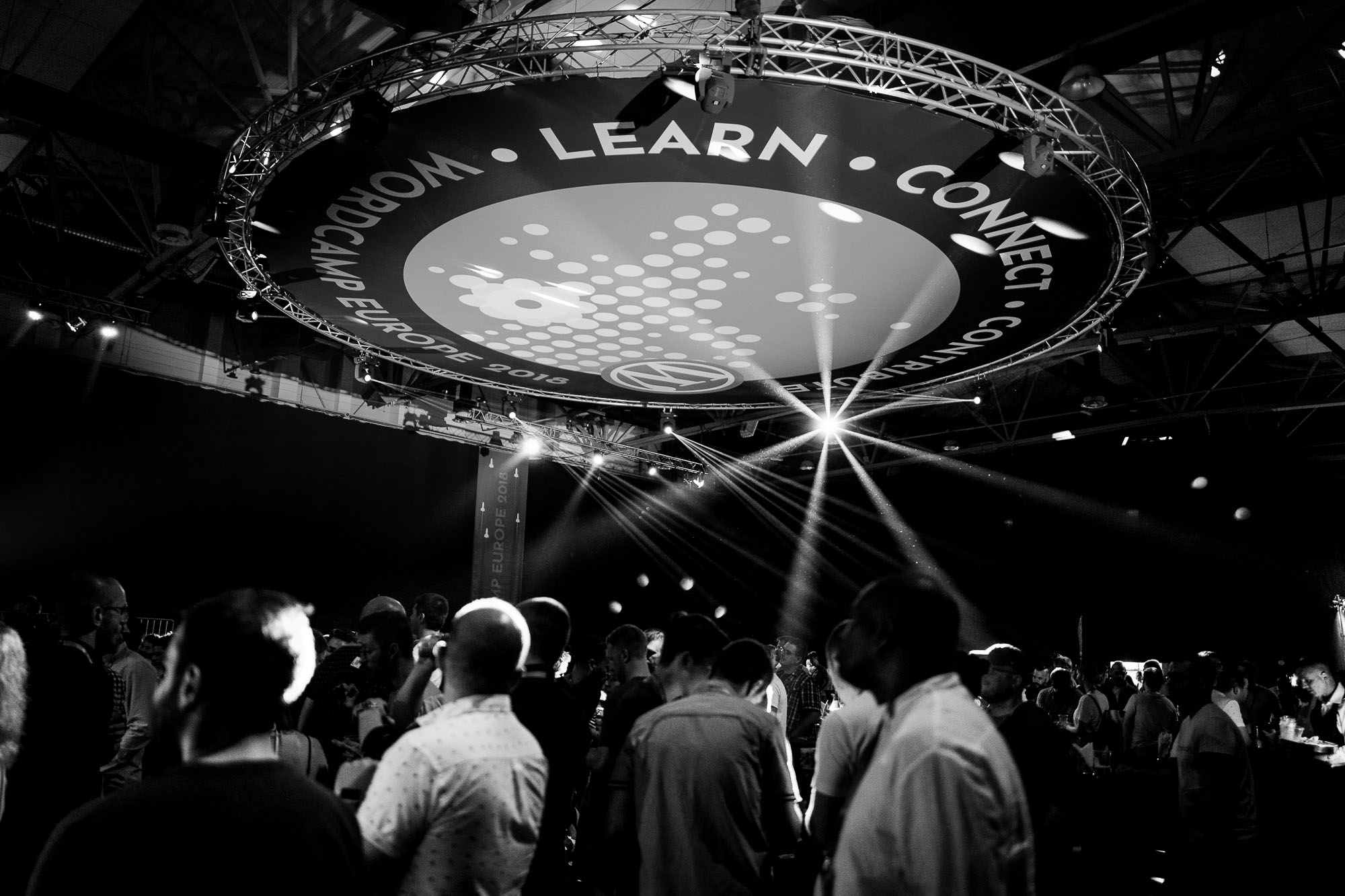 WCEU banner illuminated by party lights