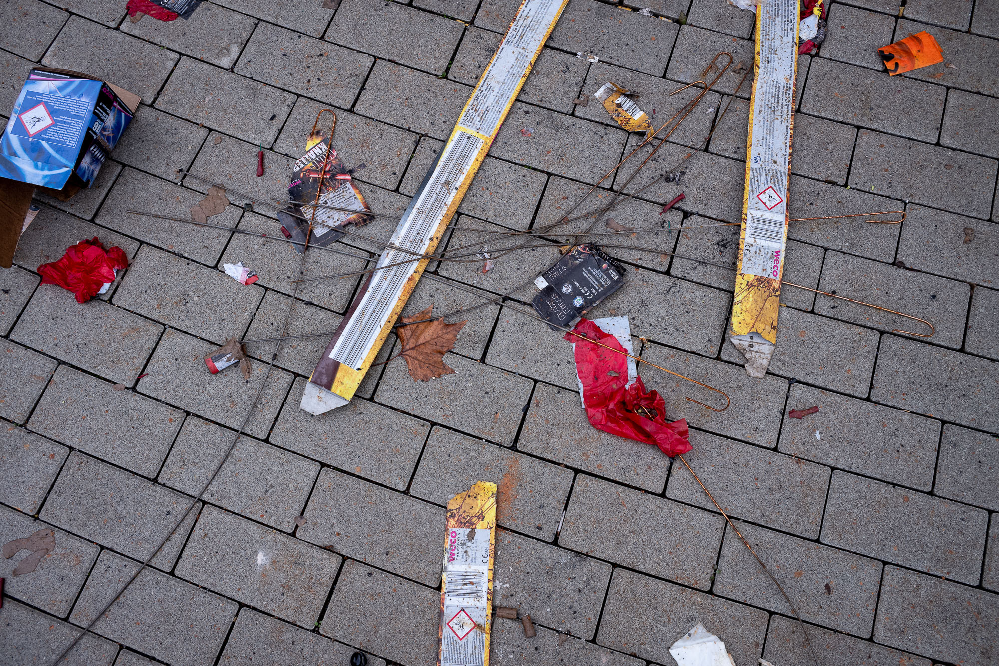 Fireworks remains on the street.