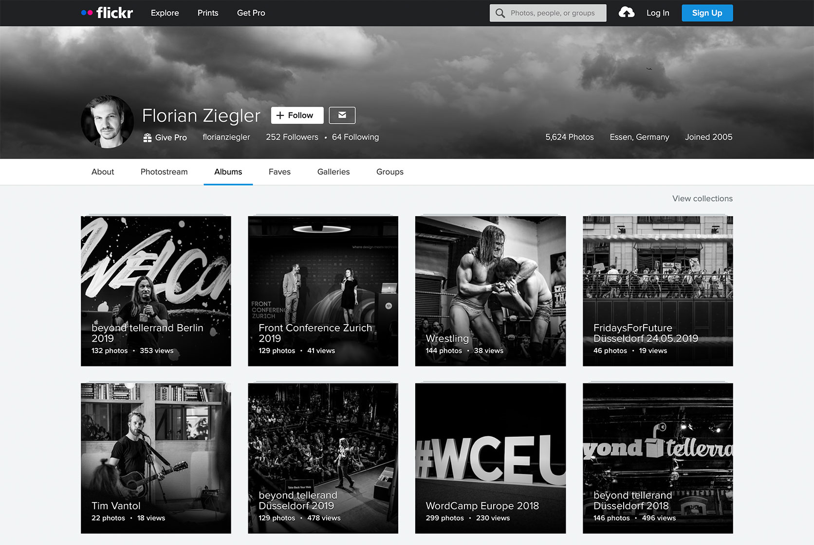 A screenshot of my Albums page on flickr.com